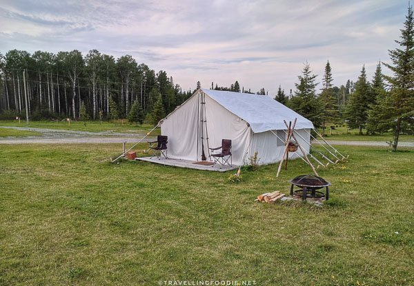 Canvas tent for glamping at WildExodus in Timmins, Ontario