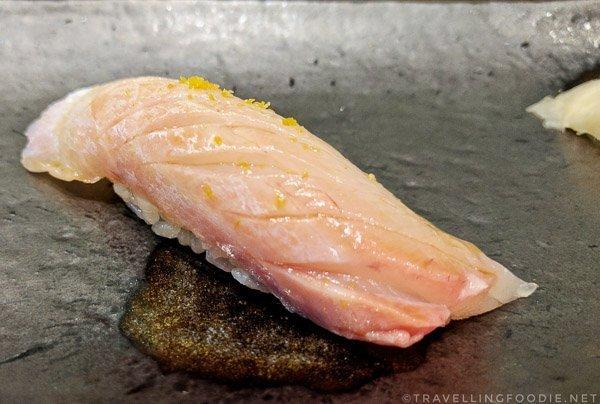 Ishidai (Striped Beakfish) Sushi at Zen Japanese Restaurant in Markham, Ontario