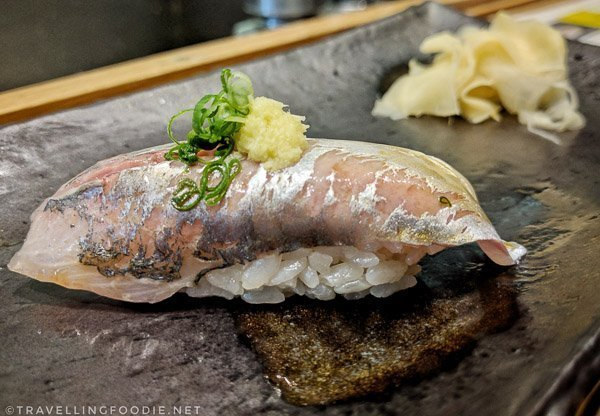 Aji (Spanish Mackerel) Sushi at Zen Japanese Restaurant in Markham, Ontario