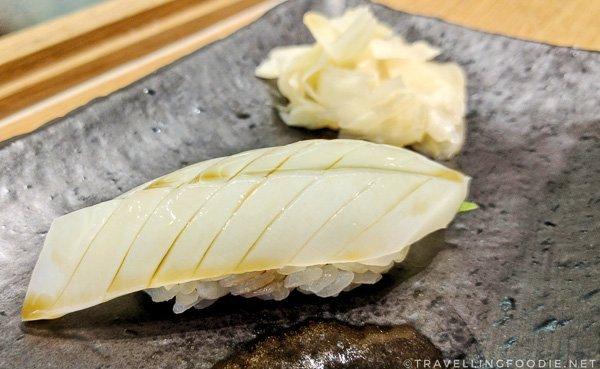 Mongo Ika (Cuttlefish Squid) Sushi at Zen Japanese Restaurant in Markham, Ontario