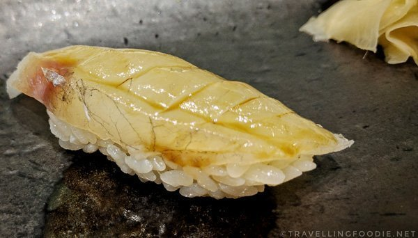 Makochi (Flathead Fish) Sushi at Zen Japanese Restaurant in Markham, Ontario