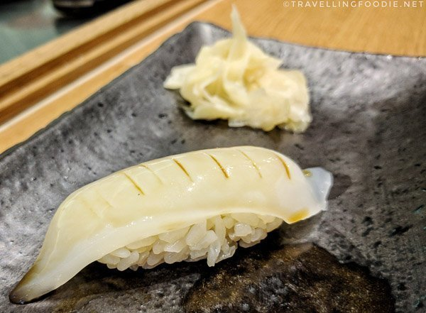 Kensaki Ika (Sword Tip Squid) Sushi at Zen Japanese Restaurant in Markham, Ontario
