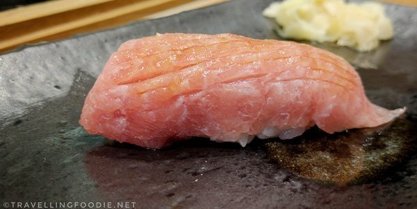 Non-Seared Otoro (Tuna Belly) Sushi at Zen Japanese Restaurant in Markham, Ontario