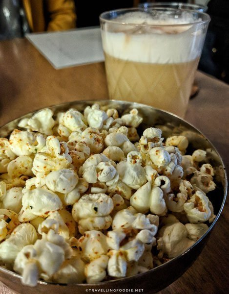 Popcorn and whiskey sour at 11th Mile Restaurant in Fredericton, New Brunswick
