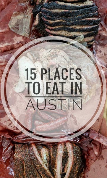 15 Places To Eat In Austin, Texas including Franklin Barbecue, La Barbecue, Gourdough's, Torchy's Tacos, Barley Swine and Olamaie.