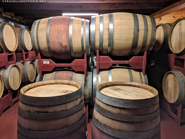 Barrel Aging Room at Burning Kiln Winery in St. Williams, Norfolk County, Ontario