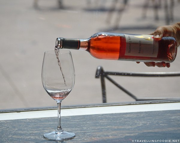 Pouring the Broken Needle Rose Wine at Burning Kiln Winery at St. Williams, Norfolk County, Ontario