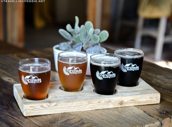 Beer Flight at Charlotteville Brewing Company in Simcoe, Norfolk County, Ontario