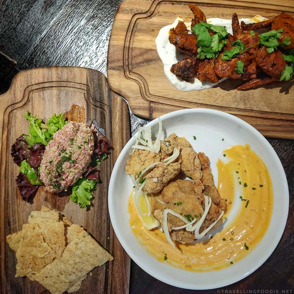 Chicken Wings, Beef Tartare, Fried Oysters