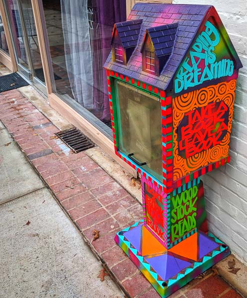 Little Free Library installation in Downtown Woodstock