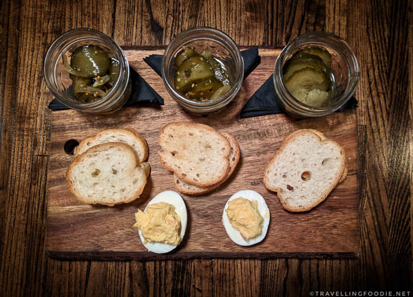 Pickle Flight at Freight Kitchen and Tap in Downtown Woodstock, Georgia