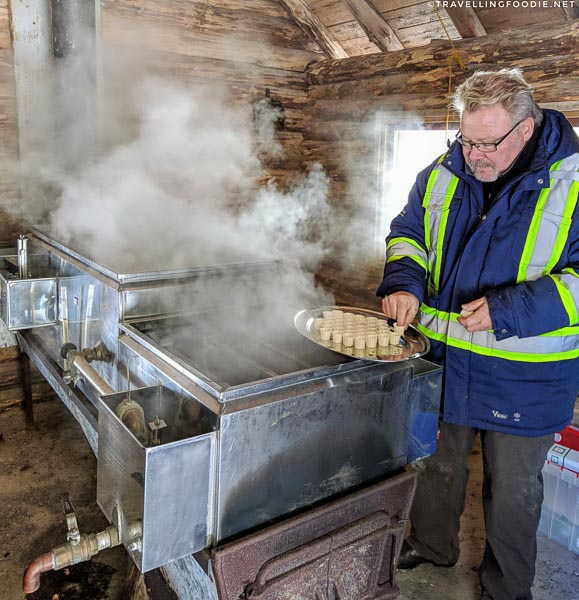 Modern way of evaporating raw maple sap at Ganaraska Forest Centre