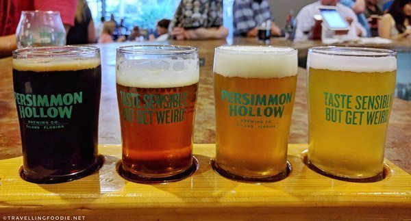 Beer Flight at Persimmon Hollow Brewing Co. in DeLand, West Volusia, Florida