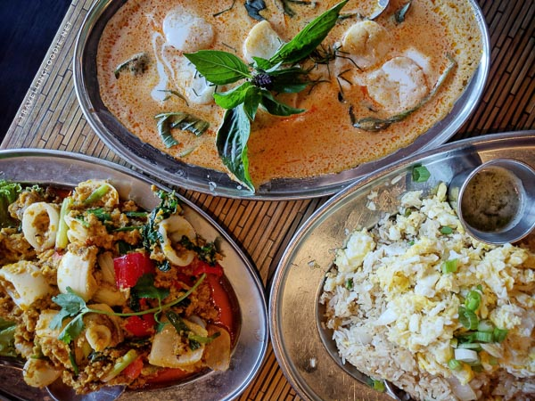 Salted Egg Yolk Squid, Scallops in Red Curry, Crab Meat Fried Rice at Isarn Thai Kitchen in Kirkland, Washington