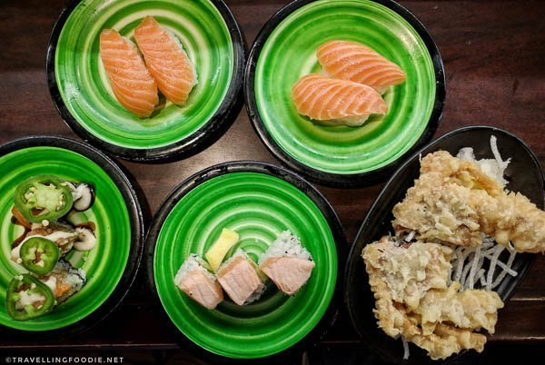Sushi, Maki Rolls and Softshell Crab at Kula Revolving Sushi Bar in Torrance, California