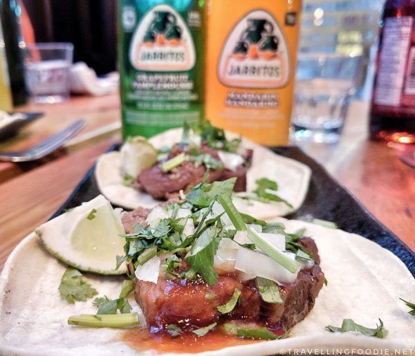 OG Pork Belly Tacos from La Brea Food at Kanpai Snack Bar in Toronto, Ontario