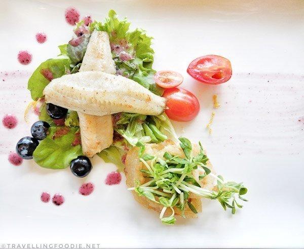 Pan-seared Lake Erie Yellow Perch Salad at at Legends on the Niagara Restaurant in Niagara Falls, Ontario