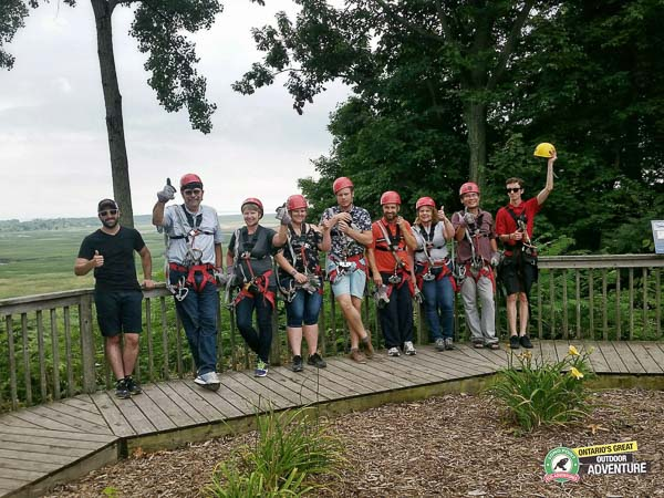 Group photo after doing the Zip Line and Canopy Tour at Long Point Eco Adventures in St. Williams, Norfolk County, Ontario