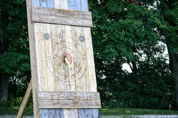 Axe throw bullseye at Long Point Eco Adventures in St. Williams, Norfolk County, Ontario