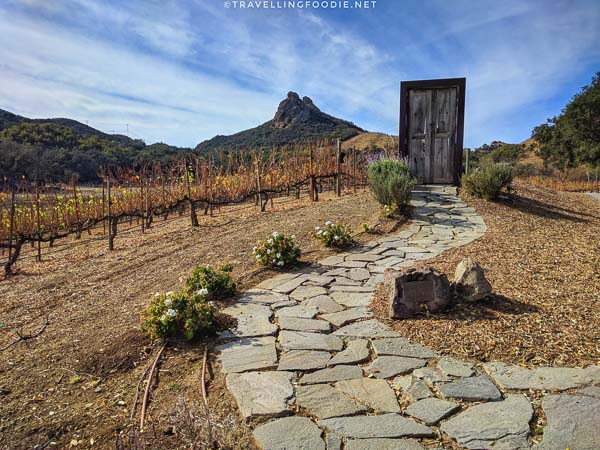 Door Sculpture with view of Saddle Rock at Malibu Wine Hikes