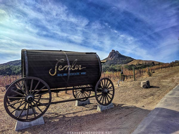 Semler Wagon with view of Saddle Rock at Malibu Wine Hikes in Conejo Valley, California