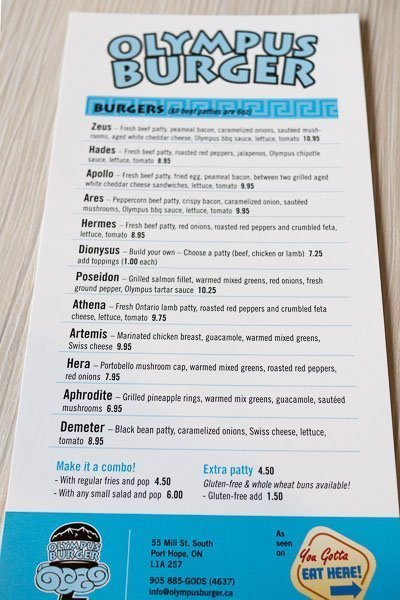 Menu of Olympus Burger in Port Hope, Ontario
