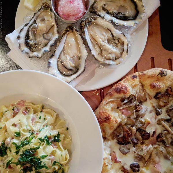 Mushroom Pizza, Carbonara and Oysters at Orfeo in Seattle, Washington