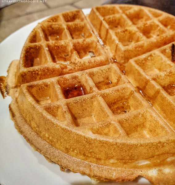Waffle from complimentary breakfast at Palm Garden Hotel in Thousand Oaks, California