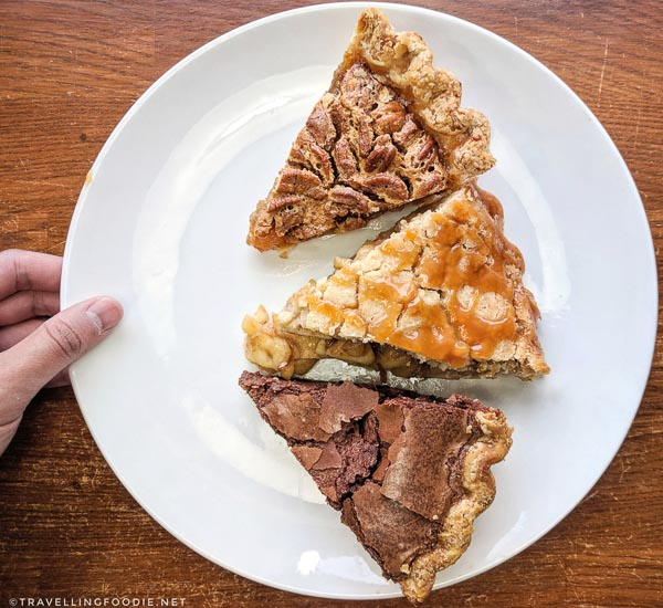 Chocolate Chess, Bourbon Pecan and Apple Streusel Pies at Pie Bar in Downtown Woodstock, Georgia