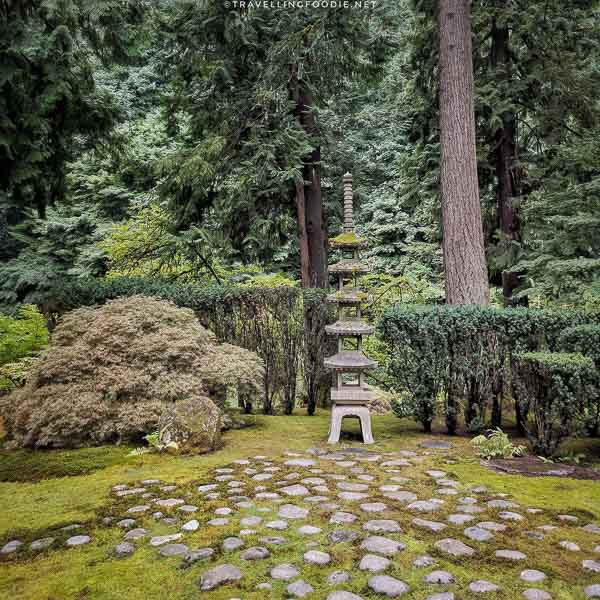 Stone Lantern at Portland Japanese Garden in Portland, Oregon