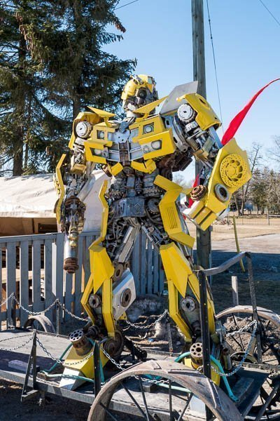 Transformers Bumblebee Robot at Primitive Designs in Port Hope, Ontario