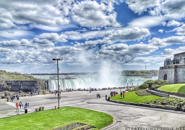 View of Niagara Falls from Queen Victoria Place Restaurant in Niagara Falls, Ontario