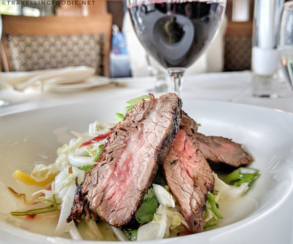 Flank Steak with wine at Queenston Heights Restaurant in Queenston, Ontario