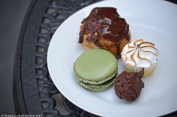 Macaron, Cream Puff, Chocolate Rocher and Mini Key Lime Bite at Urban Patisserie in Port Dover, Norfolk County, Ontario