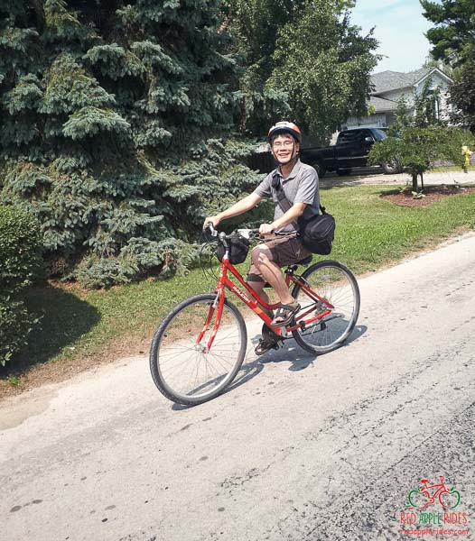 Travelling Foodie Raymond Cua cycling with Red Apple Rides in Port Dover, Norfolk County, Ontario