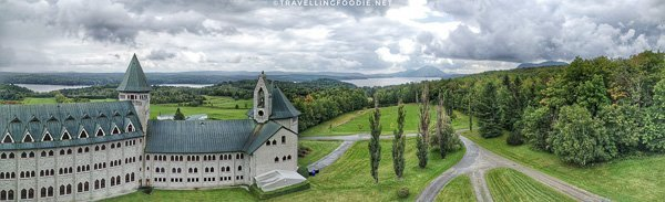 Panoramic view from clock tower at Saint Benedict Abbey, Eastern Townships, Quebec