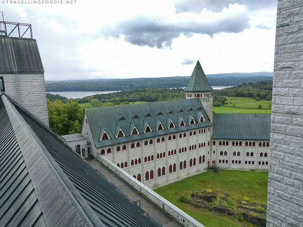 Views from the rooftop at Abbaye De St-Benoit-Du-Lac in Quebec, Canada
