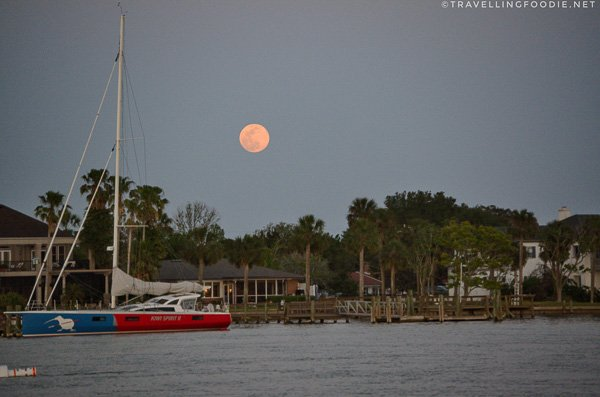 Pink Moon during Schooner Freedom Sunset Sail in St. Augustine, Florida
