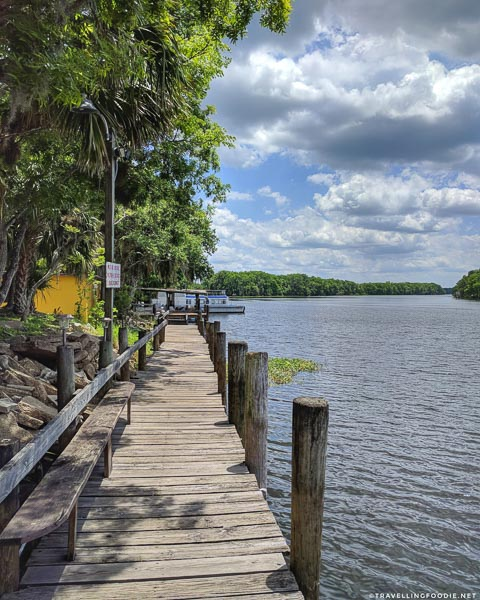 Dock at St. Johns River at Shady Oak Restaurant in DeLand, West Volusia, Florida