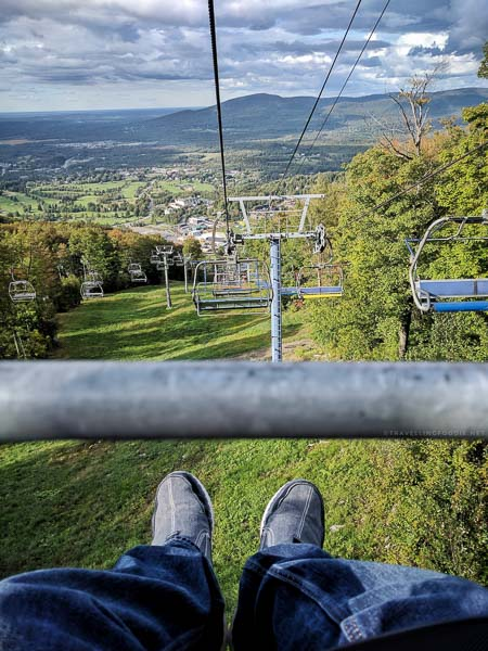 My perspective riding the lift at Ski Bromont, Eastern Townships, Quebec