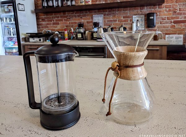 French Press and Chemex coffeemakers at Streamliners Espresso Bar in St. Thomas, Elgin County, Ontario