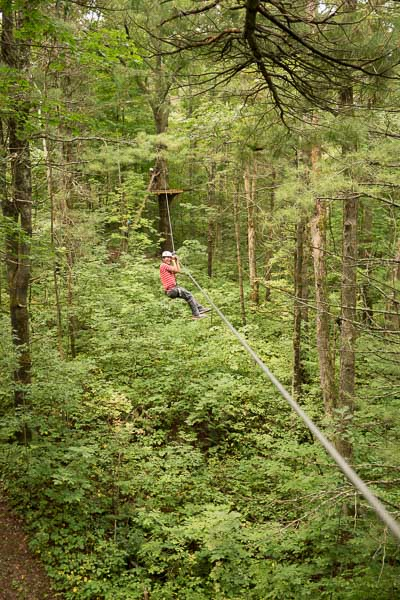 Travelling Foodie, Raymond Cua, zip lining in Ganaraska Forest in Port Hope, Ontario
