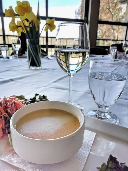 Potato Soup with wine at Whirlpool Restaurant in Niagara Falls, Ontario