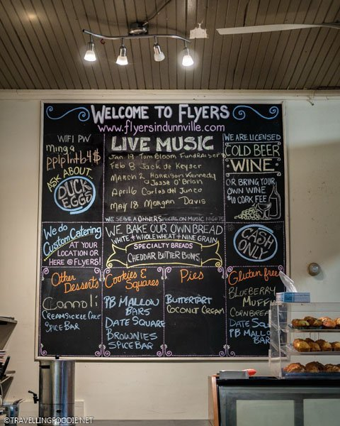 Current news board at Flyers Bakery and Cafe in Dunnville, Haldimand County, Ontario