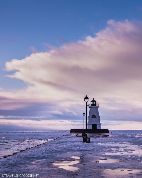 Port Maitland pier and lighthouse during the winter in Dunnville, Haldimand County, Ontario