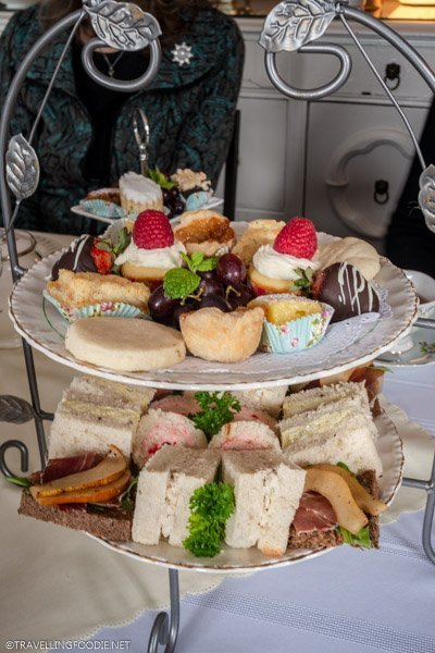 High Tea sandwiches & treats with Purple Haven Farm at Towne Cafe at Dunnville, Haldimand County, Ontario