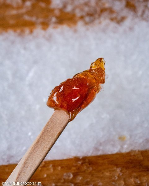 Maple taffy at Richardson's Farm and Market in Dunnville, Haldimand County, Ontario