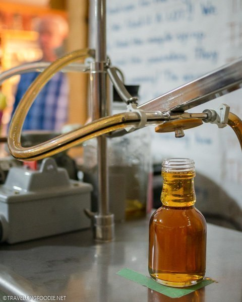 Maple syrup bottling at Richardson's Farm and Market in Dunnville, Haldimand County, Ontario