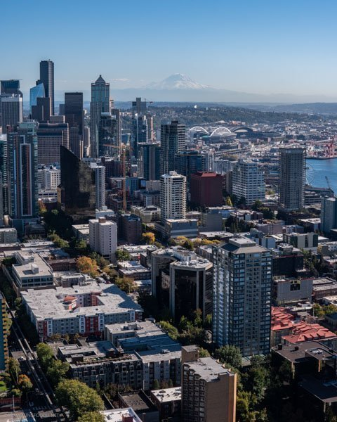 Mount Rainier view from Space Needle in Seattle, Washington