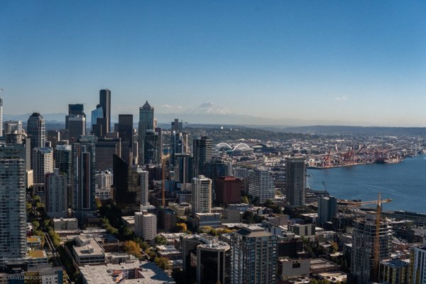 Mount Rainier backdrop of Seattle, Washington in Space Needle